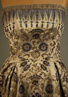 Astounding detail: Palmyre Couture jeweled strapless evening gown designed by Christian Dior, 1952