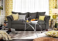 Adrian Graphite Upholstery Collection - Value City Furniture-Sofa $329.99