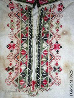 Brystbroderi på folkedraktskjorte fra Telemark