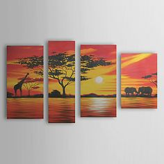 Hand-painted Landscape Oil Painting with Stretched Frame - Set of 4 – USD $ 129.99