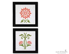Art Print Pair | Sunflower Mandala | hand block printed by *spark and blossom*