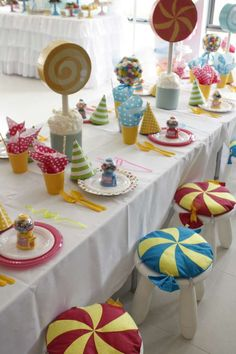Fun table decorations at a Candy Birthday Party!  See more party planning ideas at CatchMyParty.com!