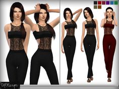 The Sims Resource: Lace Bandeau Jumpsuit by DarkNighTt • Sims 4 Downloads