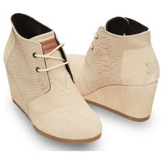 TOMS Cream Suede Snake Women's Desert Wedges ($67) ❤ liked on Polyvore featuring shoes, boots, ankle booties, toms, lace up wedge boots, wedge ankle booties, suede ankle booties, lace up wedge ankle booties and high heel booties
