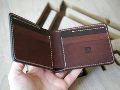 Mens Leather Wallet Leather Wallet Oak Bark Leather Unique