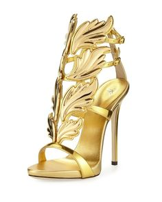 Get the must-have sandals of this season! These Giuseppe Zanotti Gold Coline Wings Leather Sandals Size EU 37 (Approx. US Regular (M, B) are a top 10 member favorite on Tradesy. Save on yours before they're sold out! Ankle Strap High Heels, Ankle Wrap Sandals, Leather High Heels, Open Toe Sandals, High Heels Stilettos, Stiletto Heels, Shoes Heels, Leather Sandals, Caged Sandals