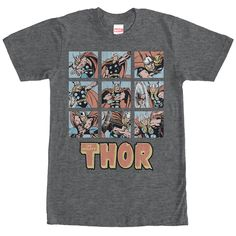 Thor Nine Up - Thor is always ready to defend the world with the Marvel Classic Thor Battle Scenes Heather Charcoal T-Shirt. The classic comic book-style hero is featured in several different battle poses on nine square panels with a slightly distressed appearance