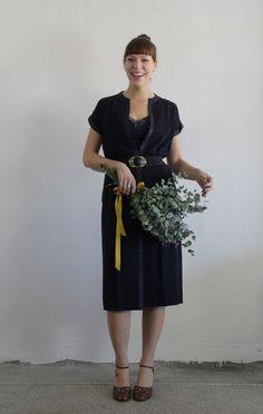 Vintage 40s Dress  Navy Blue  at VeraVague.etsy.com