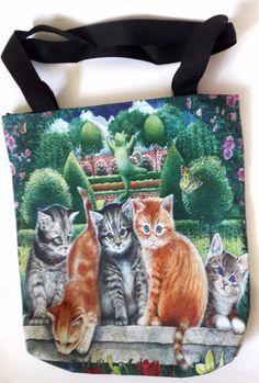 Cat kitten party flower tree garden shoulder handbag shopping tote bag handmade #Handmade #ShoulderBag