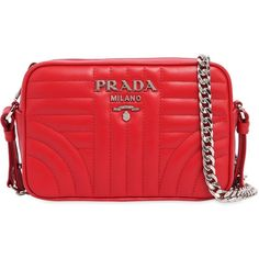 Prada Women Small Quilted Soft Leather Camera Bag ($1,145) ❤ liked on Polyvore featuring bags, handbags, shoulder bags, red, red shoulder bag, leather shoulder handbags, red handbags, camera bags and prada shoulder bag
