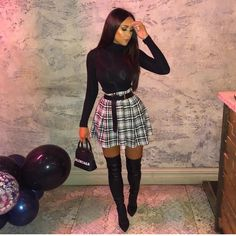 Pin by Manon Rnx on Mode in 2019 Lila Outfits, Dope Outfits, Classy Outfits, Trendy Outfits, Bad And Boujee Outfits, Summer Club Outfits, Skirt Outfits, Black Girl Fashion, Look Fashion