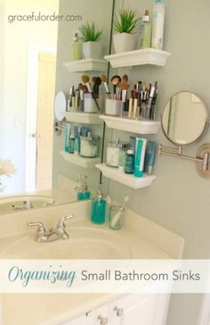 Bathroom Storage Solutions - Small Space Hacks & Tricks Have a small bathroom? Make your own Bathroom Storage Shelves. Bathroom Storage Ideas for Small Spaces; solutions for your everyday family. Bathroom Hacks and Tricks you wish you knew yesterday. Small Bathroom Sinks, Bathroom Hacks, Bathroom Renos, Master Bathroom, Family Bathroom, Bathroom Ideas, Bathroom Renovations, Master Baths, Bathroom Cabinets