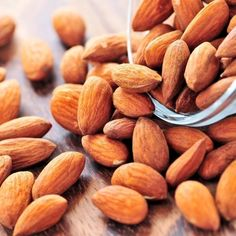 Almonds are a great source of healthy monounsaturated fats and a great source of magnesium, manganese, copper and B vitamins. They are also great providers of the antioxidant vitamin E that has been proven skin health.