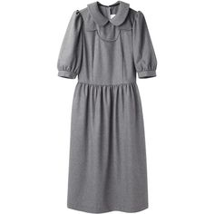 Comme des Garçons Shirt Puffed Sleeve Dress ($585) ❤ liked on Polyvore featuring dresses, three quarter sleeve dress, gray dress, zipper dress, 3/4 sleeve dress and collar dress