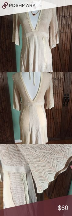 NWT Free People Gorgeous Light Peach and Cream 👻 NWT Gorgeous Free People Dress Size M perfect for Winter with Boots 🤗 Free People Dresses Mini