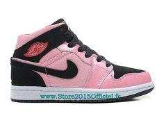 lowest price d70e2 5449c Air Jordan I AJ1 Mid (GS) - Nike Air Jordan Baskets Pas Cher Chaussure Pour  Femme Rose Noir 555112-608