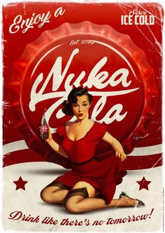 Buy Fallout - Premium Art Print - Nuka Cola at Mighty Ape NZ. Fallout – Premium Art Print – Nuka Cola (Limited Edition) An amazing collectable item for any Gaming fan or a valuable addition to any collection. Fallout Lore, Fallout Fan Art, Pin Up Posters, Cool Posters, Gaming Posters, Fallout Posters, Fallout Props, Fallout Wallpaper, Fallout Nuka Cola