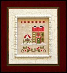 """""""Hot Cocoa Cafe"""" is the title of this cross stitch pattern and the last in the series from Country Cottage Needleworks titled 'Santa's Villa..."""