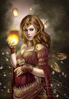 Floating Lights - Beautiful fairy art by artist Selina Fenech