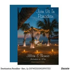 """Destination Paradise - Save-The-Date Announcement Card. Designed with a beautiful tropical beach background; an evening setting, and lots of palm trees, who could resist saying """"yes""""! Wedding Menu Cards, Destination Wedding Invitations, Wedding Invitation Templates, Zazzle Invitations, Wedding Save The Dates, Save The Date Cards, Beach Background, Save The Date Templates, Perfect Wedding"""