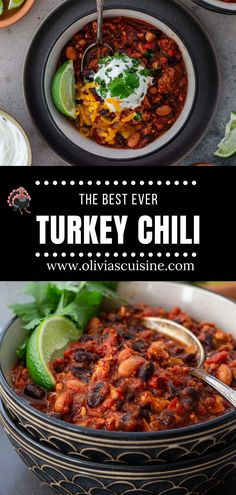 The Best Turkey Chili Ever! This is seriously the best turkey chili recipe you will ever make! Hearty but lean, a bowl of this healthy chili recipe will warm you up without piling on the calories. Make a big batch and freeze some so you can have chili whenever you need a soul-soothing meal! This easy chili recipe is perfect for the whole family! | www.oliviascuisine.com | #chili #turkeychili #freezermeal #dinnerrecipe Chili Recipes, Turkey Recipes, Dinner Recipes, Vegan Recipes, Healthy Chili, Best Turkey, Turkey Chili, Freezer Meals, Vegan Vegetarian