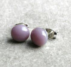 Purple Glass Earrings Lilac Fused Glass Stud Earrings by GLASPUNT