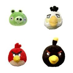 Angry Birds Limited Edition 3.5 inch Piglet - White Bird - Red Bird - Black Bird 4 pack Box Set Plush (Toy)