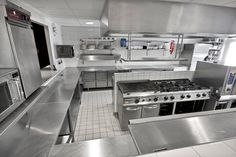 Restaurant Kitchen Equipment, Restaurant Kitchen Design, Restaurant Interior Design, Kitchen Hood Design, Industrial Kitchen Design, New Kitchen Designs, Open Kitchen Layouts, Kitchen Sets, Kitchen Dining