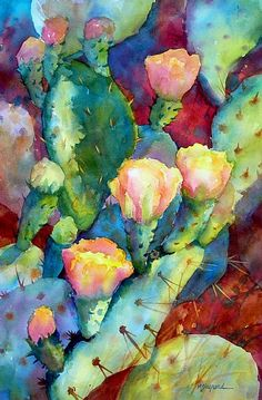 "CACTUS RHYTHMS by Mary Shepard Watercolor ~ Image:  14"" x 21"" unframed"