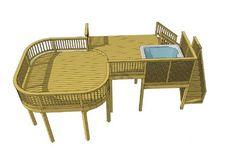 Free deck plans Plan name: Square feet: 402 Width: 32 Depth: 18 Height: 8 2 Levels: 2 Pergola Ideas For Patio, Deck With Pergola, Diy Deck, Pergola Plans, Pergola Cover, Patio Roof, Backyard Ideas, Wood Deck Plans, Free Deck Plans