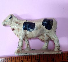 vintage cow toy 1950s  made in USA  composition by pinksupply, $15.00