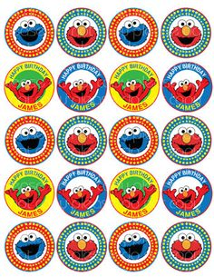 Personalized ELMO Printable Cupcake Toppers Favor Tags By MicMakon 240