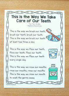 Dental Health Preschool Song Printable - Fantastic Fun & Learning