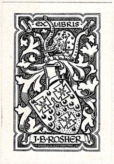 Armoral bookplate of J.B. Roshen, Colonel, British Army, Durham Light Infantry.