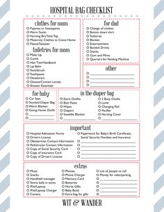 Printable Maternity Labor & Delivery Hospital Bag Packing List Checklist - Wit & Wander