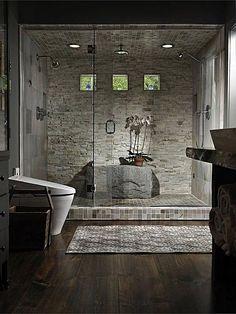 Contemporary Master Bathroom - Stone Tile