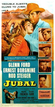"""Jubal"" directed by Delmer Daves. Starring Glenn Ford, Ernest Borgnine and Rod Steiger. Old Movie Posters, Classic Movie Posters, Cinema Posters, Original Movie Posters, Classic Movies, Western Film, Western Movies, Old Movies, Vintage Movies"