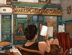 painting depicts woman sitting in chair reading a book outside Shakespeare and company, a famous Paris bookstore Illustrators, Art Painting, Woman Reading, Illustration, Painting Illustration, Painting, Reading Art, Art, Book Art