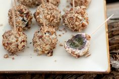 """""""gorgonzola grapes"""" appetizer recipe- with cheese and pecans. great with a cocktail!"""