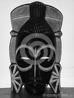 African, wooden mask created by an anonymous artist of Angola.