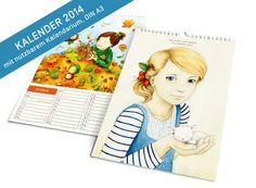 Kalender 2014 • DIN A3 mit nutzbarem Kalendarium von Stift und Papier auf DaWanda.com