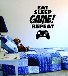 Eat Sleep Game Repeat Version 1 Gamer Decal Sticker Wall Vinyl Art Decor