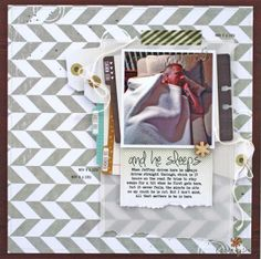 and he sleeps layout by Christine Drumheller: using the January 2014 Cocoa Daisy kit, Blueprint and add ons.  Stacks of layery goodness, some tags and clips and a wood veneer *! Get your own kit for $32.95 plus S+H at www.cocoadaisy.com