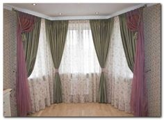 шторы на эркер из трех окон Curtains With Blinds, Valance, Bay Window Living Room, Curtain Designs, Drapery, Kids Bedroom, Room Decor, Curtains, Home