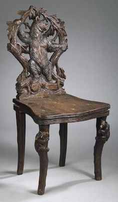 A Fine Antique Black Forest Carved Walnut Hall Chair , late c.