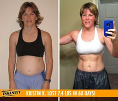 "Kristin K. lost 7.4 lbs and got toned in 60 days of Insanity! Congrats Kristin! Way to #DIGDEEP!    ""I'm in awesome shape! I'm strong, my core has abs again, and I feel so much better! I love the workouts, the sweat I get from it and how time flies by!"""