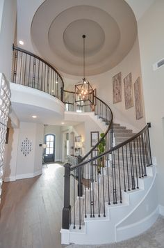 stunning rotunda and entry way by Westin Homes (Preston D) Luxury Staircase, Foyer Staircase, Staircase Design, Dream Home Design, My Dream Home, House Design, Westin Homes, Modern Pergola Designs, Grand Entryway