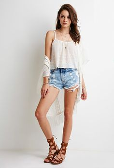 Embroidered-Chiffon Cropped Cami