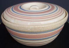 ILOVEOLDSTUFF'S STUFF » Vintage Hull McCoy Casserole Bowl Pink & Blue Band Lidded Lid Mixing Bowl Nelson