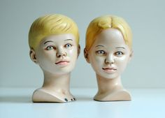 "creepy plaster heads boy girl children oddity bust figurine hand painted home decor 8"" tall"